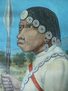 Painting on canvas depicting a Sery Antandroy chef - Southern Madagascar region - painter Raduny
