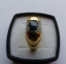 18 kt gold ring with sapphire and 0.18 ct of diamonds - size 57 (17).