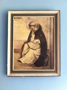 Large print of a Saint in an elegant frame - ca 1900