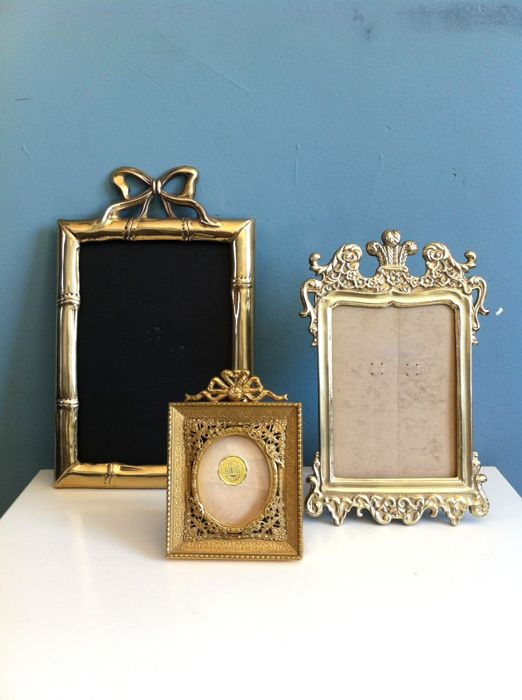 Three French baroque copper bronze picture frames, ca. 1960, France (Lille)