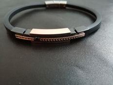 H°°O Italian Design bracelet – Steel and black diamonds – 21 cm