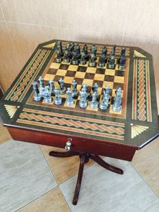 Chess table and figures representing the Arabs against Christians.