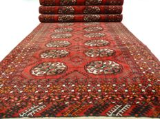 "Afghan Bukhara – 304 x 83 cm – ""Persian runner in bright colours – In beautiful condition""."