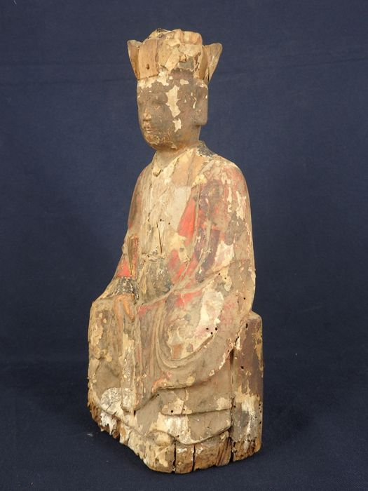 """Figurine of a monk with original """"script"""" holding a court tablet - China - 19th century"""