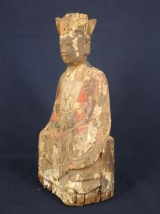 "Figurine of a monk with original ""script"" holding a court tablet - China - 19th century"