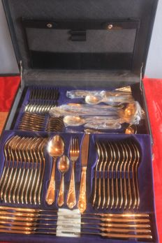 "Fully gold-plated cutlery! Nivella Solingen cutlery case, 72 pieces - ""Antoinette"" Model - 23/24 karat hard gold plated 1000 fine gold, mint condition"