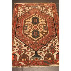 Antique old Persian carpet Bachtiari Bachtiar Bakhtira Bakhtiari 155 x 110 cm natual colours old rug carpet antique Tapis Tapijt Tappeto made in Iran around 1950