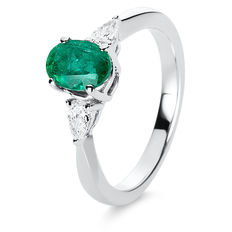 White gold ring with fine emerald 1.04 ct + 2 diamonds in drop cut - ring size: 53 (inner diameter approx. 17 mm)