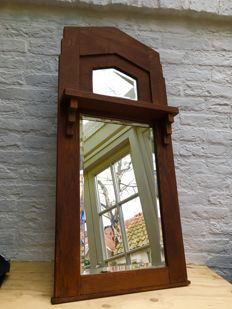 Art Deco mirror in Amsterdamse School style, faceted, hallway mirror, from approx. 1930, Amsterdam the Netherlands