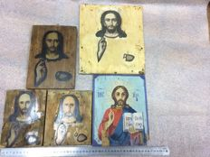 20th century ortodox  five russian icon of Jesus Vsederzhatel hand painted
