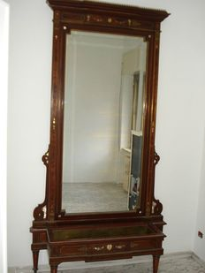 Inlaid mahogany mirror with planter - Italy, 20th century