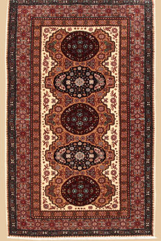 Hand knotted oriental carpet cashmere approx. 136 x 72