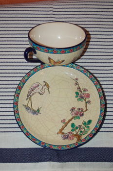Enamels of Longwy - set cup and saucer