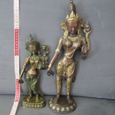 2x Padmapani bronze figures – Nepal – 2nd half 20th century