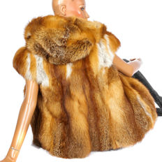 Juliano red fox fur vest fox fur vest with a cuddly hood