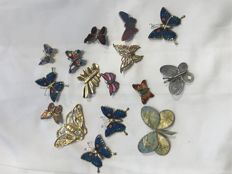 Collection of 16 vintage enamelled butterfly brooches