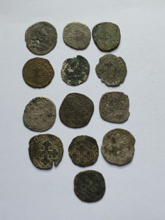 Savoie - Lot of 13 Charles-Emmanel I and II coins.