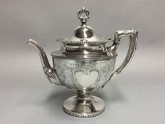 Silver plated tea pot with pearl decoration and garlands, England, ca. 1900