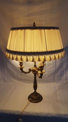 Brass three light table lamp with a Victorian style shade, second half 20th century