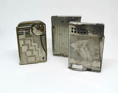 Collection of petrol safety lighters in chromed metal - Early 20th century