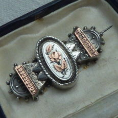 Antique, English, Victorian, silver brooch with gold - William C. Manton.