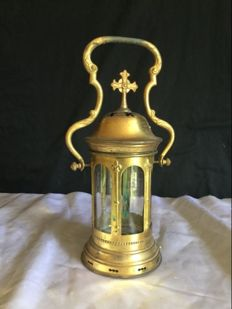 Religious Lantern of Procession, bronze or brass, End of the XIXth, France
