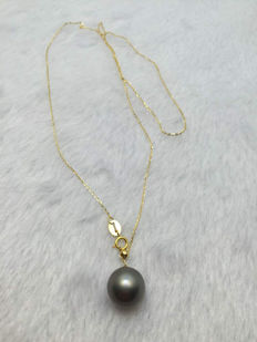 Gold necklace Tahiti pearl 11 mm