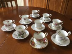 Royal Albert porcelain, nine cups and saucers