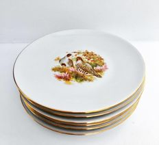 Limoges Service 6 plates - with fine gold - hunting, woodcock, pheasant.