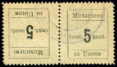 1918 Italian Austrian Occupation, Town of Udine, pair tete-beche