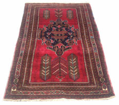 Vintage Afghan Hand Knotted Prayer Balouch Herati Area Rug 162 cm x 98 cm