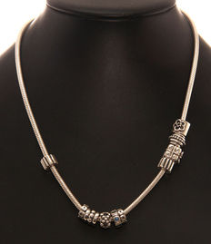 925 silver Pandora necklace with 10 charms, length: 45 cm