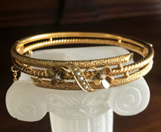 Bracelet / bangle with pearls made of 8 kt yellow gold - circa 1890