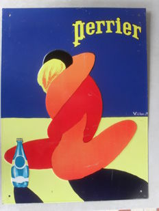 Stamped enamelled sheet metal plate - Perrier - 1970