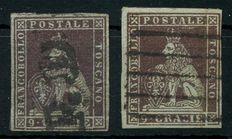 Tuscany - 1851 - 'Lion 9 cr. dark violet' - 2x Sassone 8a