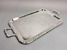 Large silver plated serving tray with floral engraving, England approx. 1950