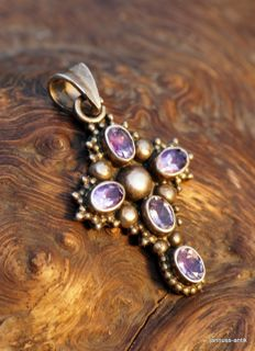Antique cross pendant with amethysts