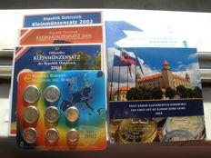 Europe - Lot of 6 different sets 2002/2010 from Austria, Spain and Slovakia