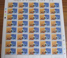 France 2002 - Airmail complete sheet of 40 stamps with with broken phosphor bands and coloured mark Yvert PA no. 65 + Sheet PA No. 73