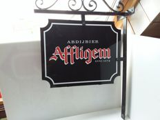 Double-sided metal advertising sign for Affligem Abbey beer-circa 1990.