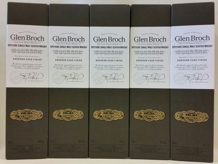 5 bottles - Glen Broch Single Malt Whisky - Bourbon Cask Finish - Limited Available