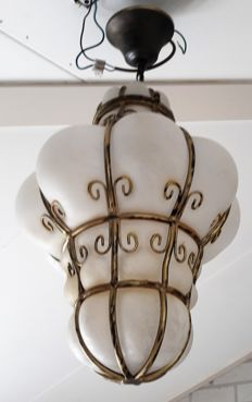 Very special Venetian lamp - glass with metal - Italy - 2nd half of 20th century