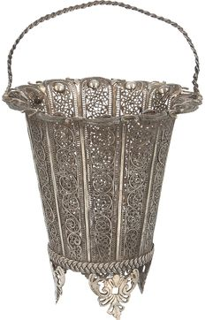 Hand made filigree handle basket