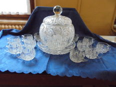 15-piece punch bowl serving set, made of heavy Bohemian lead crystal from Egerland, hand-cut, from ca 1950-1955