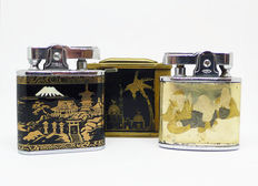 Collection of chromed metal petrol lighters with oriental decoration - First half 20th century