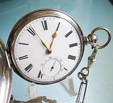 Savonet pocket watch, fusee, London 1864 + Sterling silver link necklace with fob
