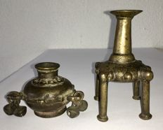 Two antique, bronze, makeup/kohl bottles - India - 18th/19th century.