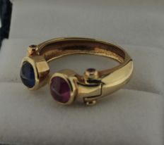 18 kt yellow gold cocktail ring with ruby and sapphire, ring size: 17.5
