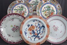 Collection of 6 coloured plates - China - 18th and 19th century