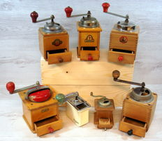 Collection of seven old coffee grinders - various models